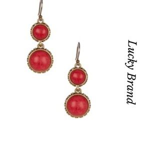 LUCKY BRAND DOBLE DROP EARRINGS IN CORAL